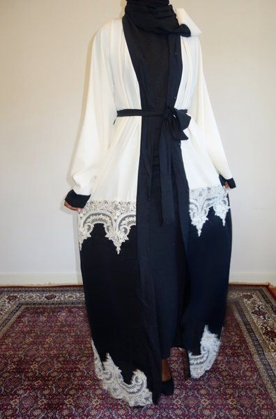 Cream and Black Lace Open Abaya | Amal clothing abaya thobe khaleeji hijab jilbab niqaab jewellery