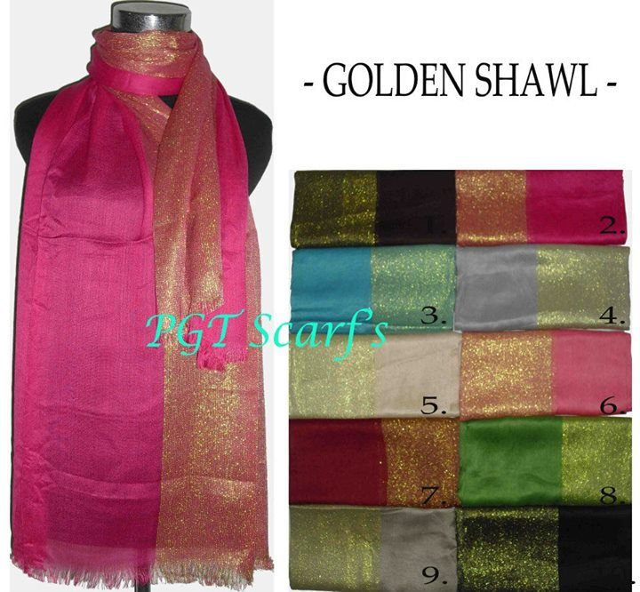 "Simple elegant n glamour Shawl.  ""GOLDEN SHAWL "" only 35.000 So stylist... more info n product check www.grosirtudung.com. #pashmina #shawl #selendang #murah #elegant #simple #ecer #grosir #borong #souvenir"