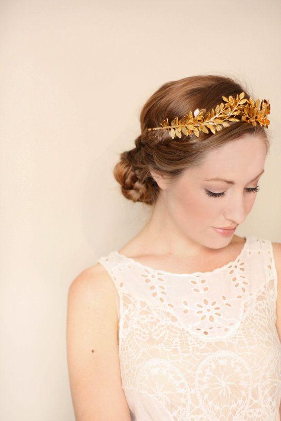 Laurier feuille Tiara, diadème or, feuille Halo, bandeau de feuilles d'or, feuille accessoire de cheveux, diadème nuptiale, bandeau de feuilles d'or, des bois