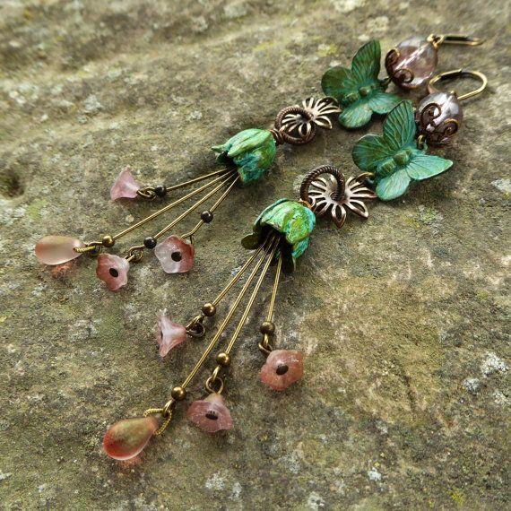Shabby chic butterfly & flower earrings verdigris by lecoupdegrace