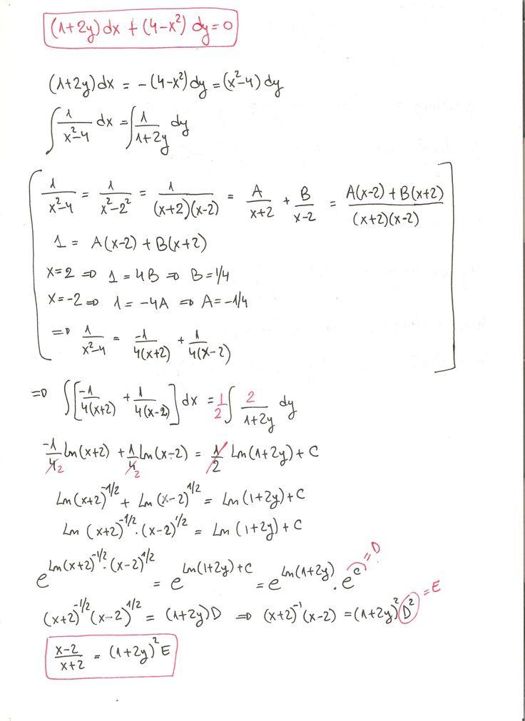 Solución del ejercicio 14 Ecuaciones diferenciales de variables separadas