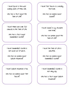 Students will play I Have Who Has fact and opinion. Each statement is about Disney World. ...