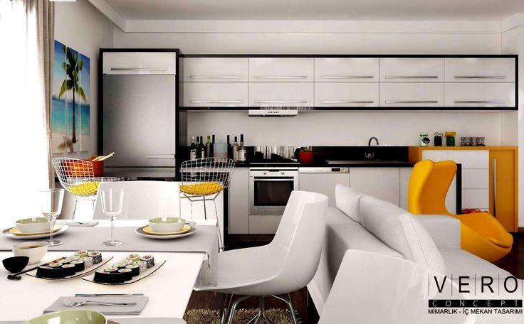 Açık mutfak ve yaşam alanının uyumu...Modern ve ferah iç mekan tasarımları  #veroconceptarchitect