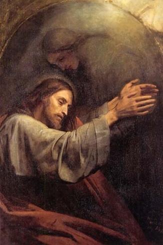 Ary Scheffer: Oración en el huerto, 1839.  Jesus' Agony In The Garden