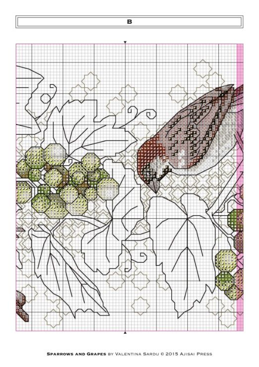 Gallery.ru / Фото #6 - Ajisai Designs - Sparrows and Grapes - tymannost