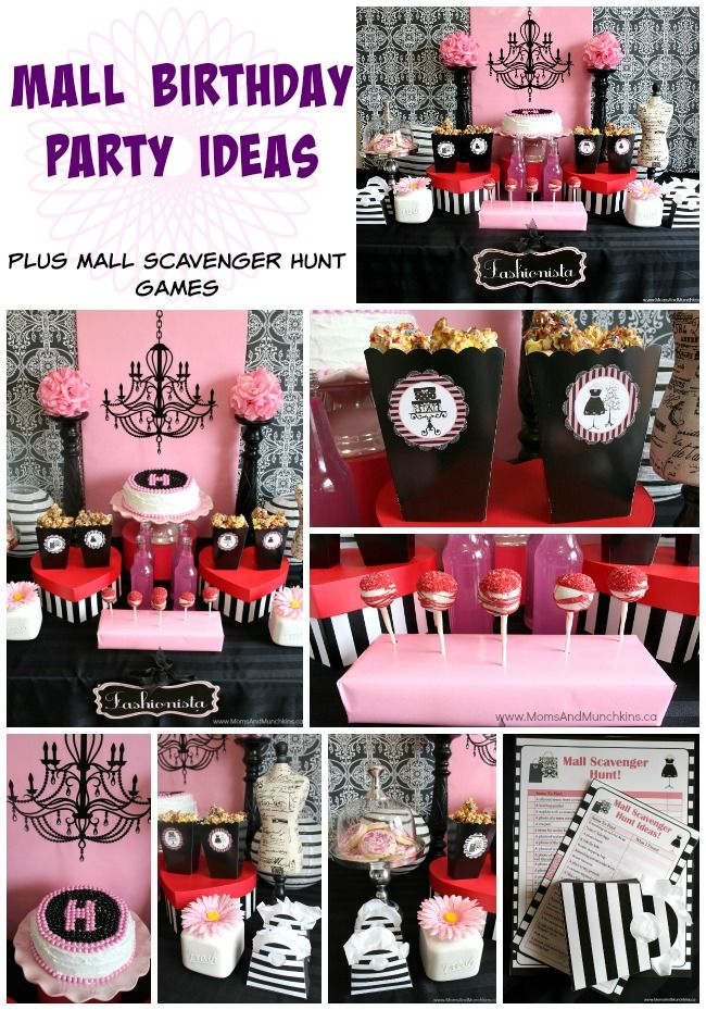 Mall Scavenger Hunt Birthday Party Ideas - ideas for food, activities (including printable games), favors and more!