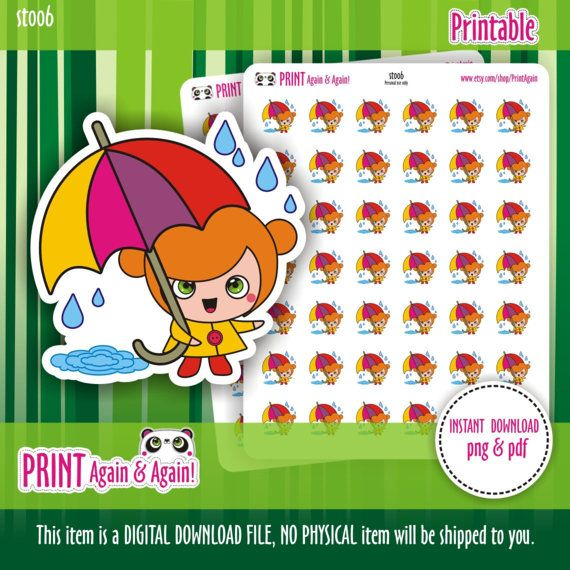 Rainy day 2 Printable Planner Stickers Weather by PrintAgain