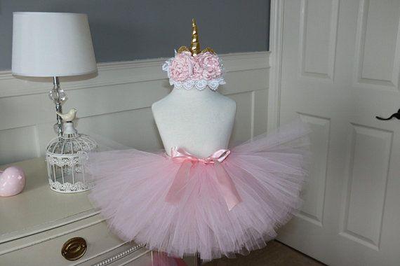 Unicorn tutu set -- pale pink tutu with flower crown unicorn headband
