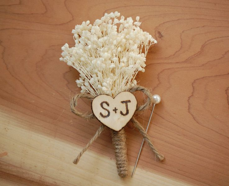 Rustic Baby's Breath Wedding Boutonniere with Personalized Heart Initials. by BigRiverCrafts on Etsy https://www.etsy.com/listing/246038770/rustic-babys-breath-wedding-boutonniere