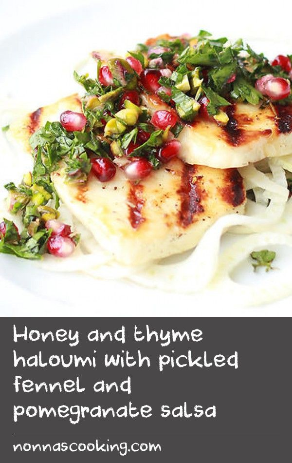 Honey and thyme haloumi with pickled fennel and pomegranate salsa | For me, pure joy comes from finding the right pairing of cheese and accompaniments. It could be as simple as a sharp pecorino with crunchy, slightly sweet pear, or something a little bolder like a piece of Roquefort on a gingernut biscuit – heaven, trust me. For haloumi, I decided to create a grilling recipe perfect for outdoor barbecues or a quick midweek meal. Grilling is a surprisingly delicious method for haloumi cheese…