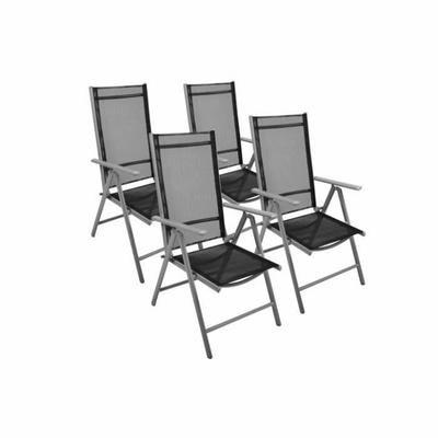 4 chaises pliante noir réglable de jardin en aluminium chaise de camping Ces chaises sont légères, compacts et très pratique. Le textilène de haute qualité (Polyester recouver