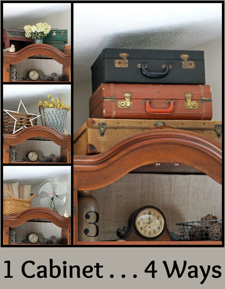 Different Looks For The Top Of The Cabinet  All Items From Thrift Stores  And Garage
