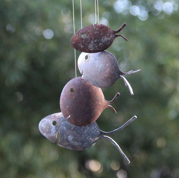 Driftwood & Rustic Spoon Fish Wind Chimes Silver by NevaStarr