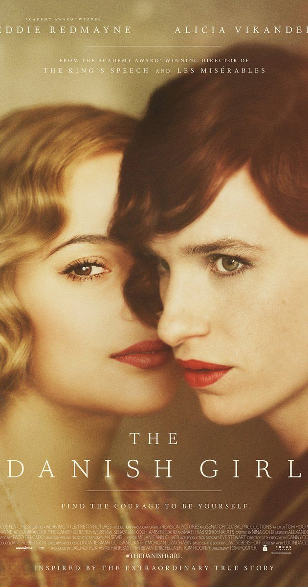 Directed by Tom Hooper.  With Alicia Vikander, Eddie Redmayne, Amber Heard, Matthias Schoenaerts. The remarkable love story inspired by the lives of artists Lili Elbe and Gerda Wegener. Lili and Gerda's marriage and work evolve as they navigate Lili's groundbreaking journey as a transgender pioneer.