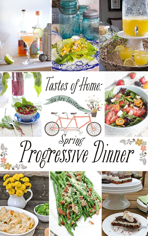 Complete dinner roundup of recipes with 2 drinks, 1 appetizer, 2 salads, 1 entree, 1 side, and dessert