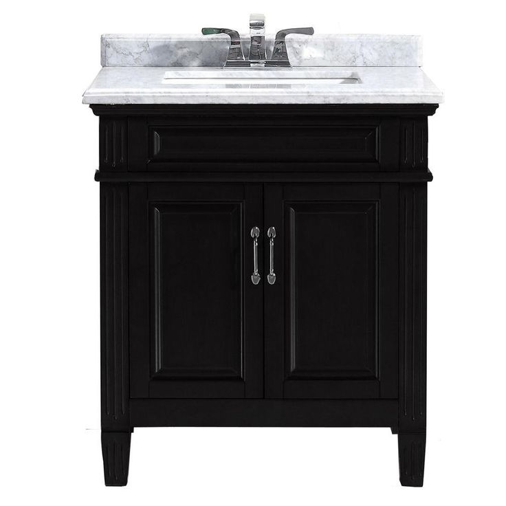 Image Gallery Website Vanity in Black with Marble Vanity Top in Carrara White BFBLAINE