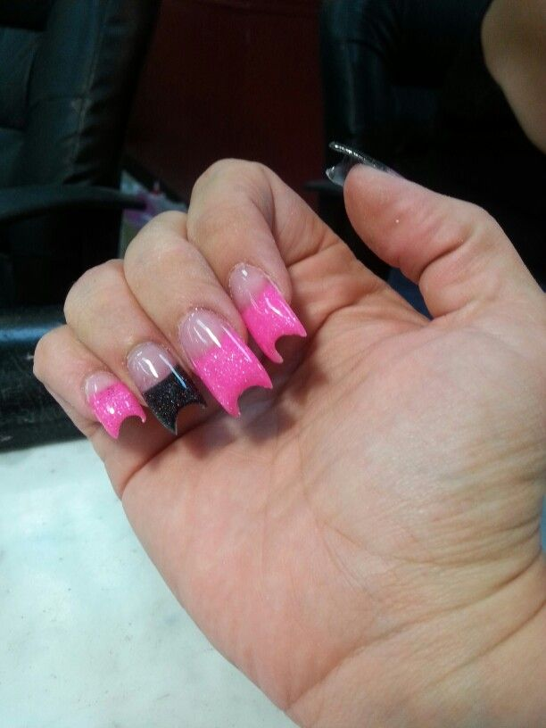 Pink and blank solar duck bill nails
