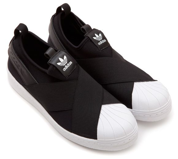 adidas black & white superstar slip on trainers