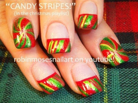 Christmas Nail Art Peppermint Candy
