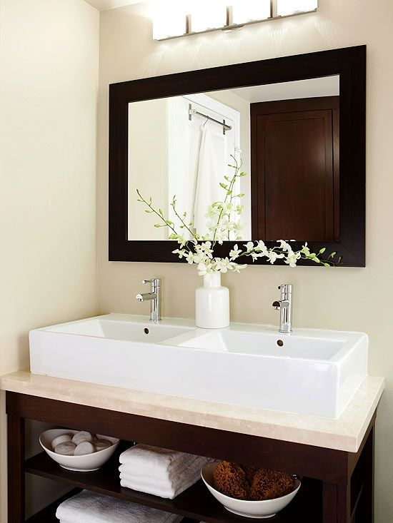 92 best images about vanity units on pinterest corner for Small bathroom mirror ideas