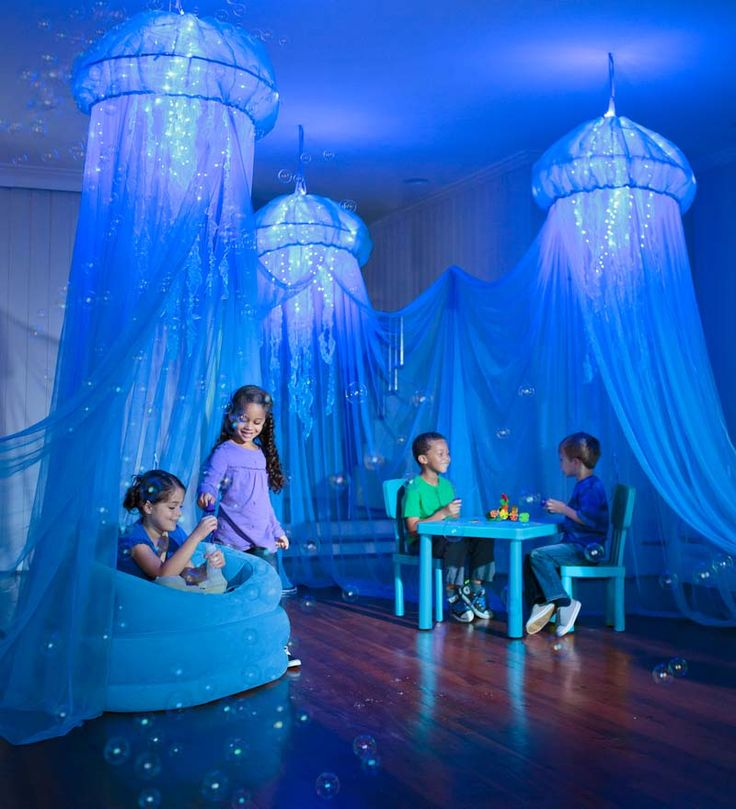 Aquaglow Light-Up Jellyfish Hideaway Like the concept and could see making custom version with hoop, lights, and fabric for the bcd deck.