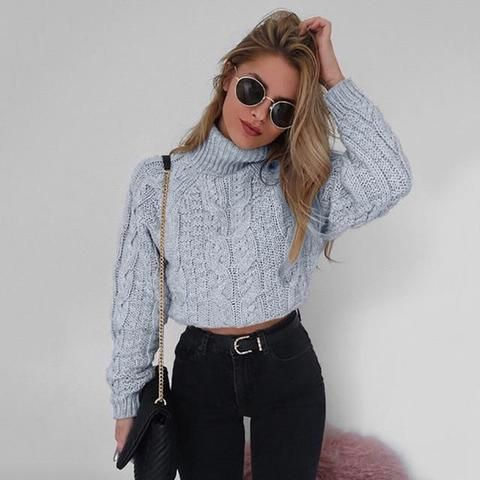 Sexy Sweater Autumn Winter Women Plus Size Thick Long Sleeve Short Pullovers