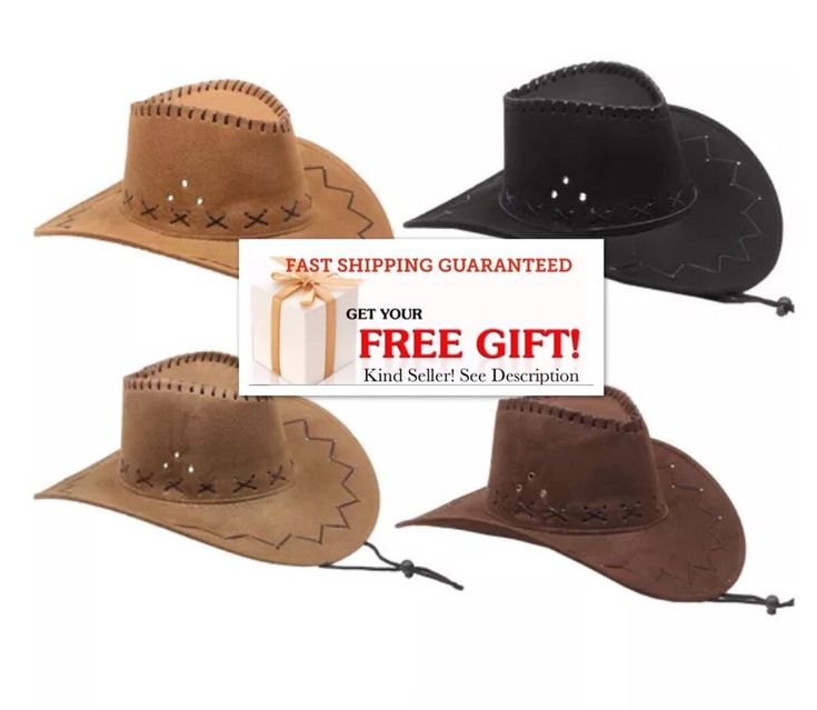 Cowboy HAT WESTERN Cowgirl BROWN BLACK CAMEL Hat MEN WOMEN CAP VALENTINES GIFT  #Unbranded #CowboyHat