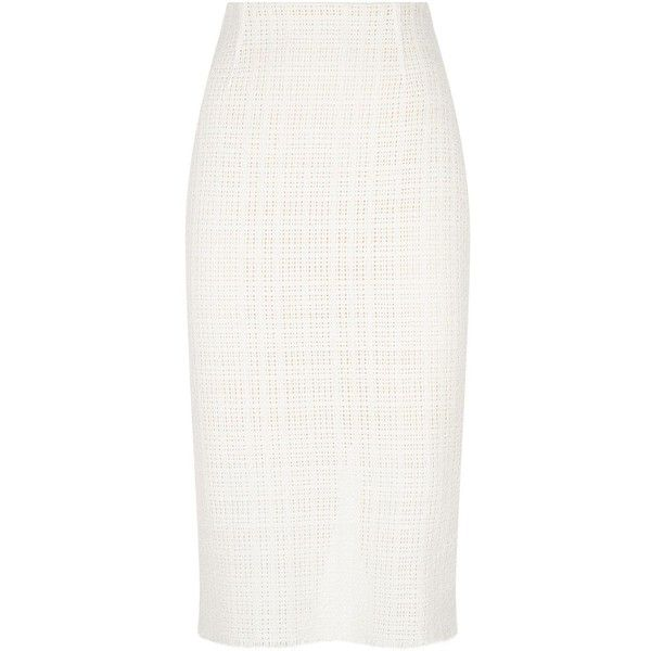 Roland Mouret Ryehill Midi Skirt ($985) ❤ liked on Polyvore featuring skirts, high-waisted midi skirts, cotton pencil skirt, white high waisted skirt, high waisted skirts and white midi skirt