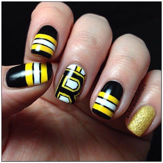 nhl Boston Bruins by stormandstars #nail #nails #nailart