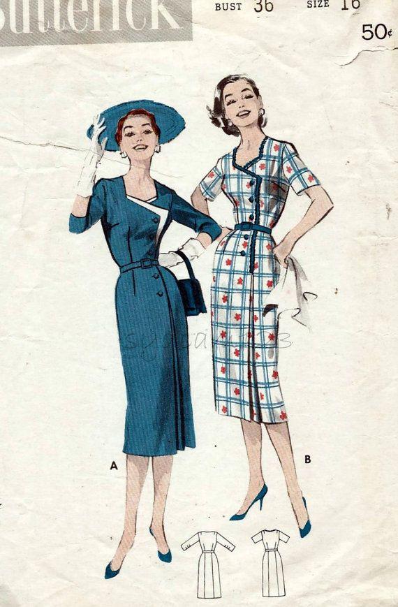 Vintage 1958 Side Front Button Dress Pattern...Unique Bodice Detail...Cutout Neckline...1958 Butterick 8469 Bust 36