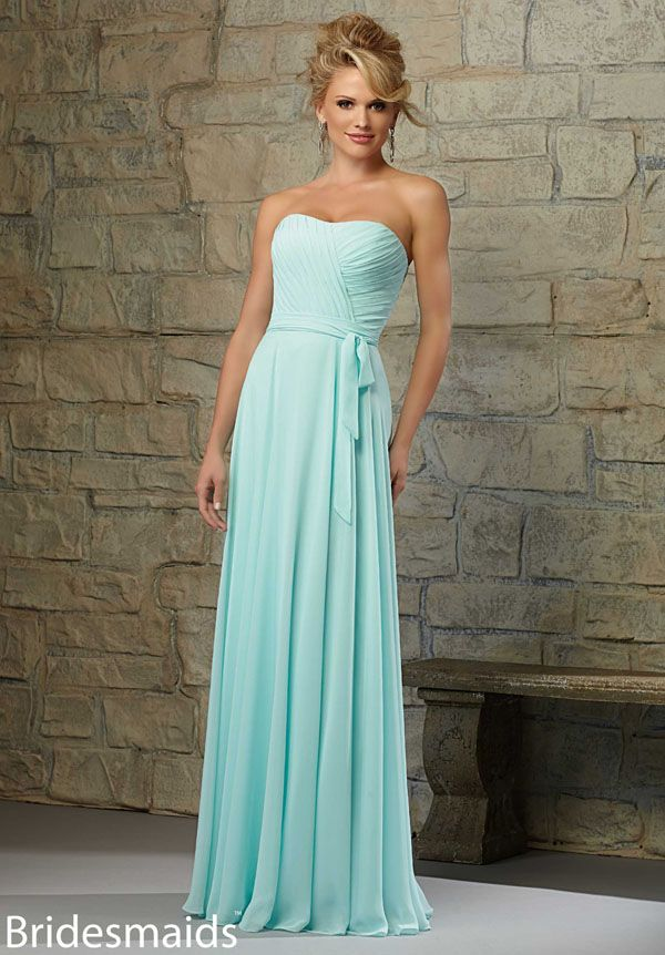 Elegant two tone long chiffon bridesmaid dress. Blue navy a line skirt with royal blue sash, strapless sweetheart neckline on simple bodice.