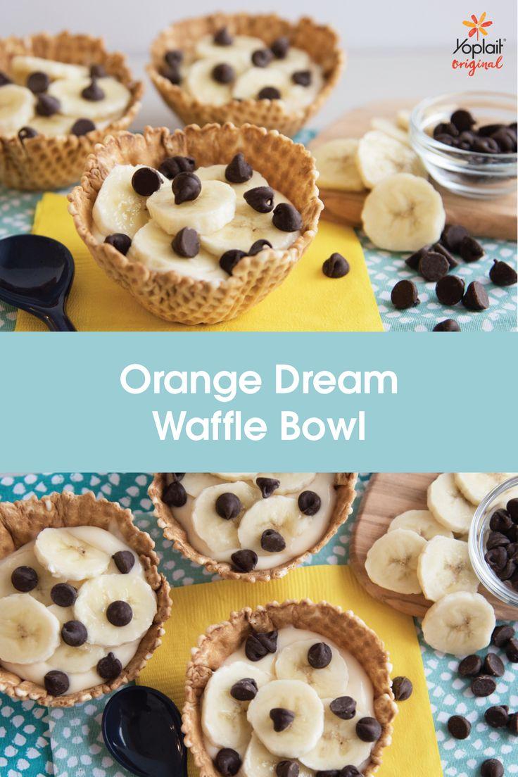Orange Dream Waffle Bowl-Yoplait Original Orange Creme yogurt topped with sliced bananas and chocolate chips inside of a crispy waffle bowl. Nothing better!