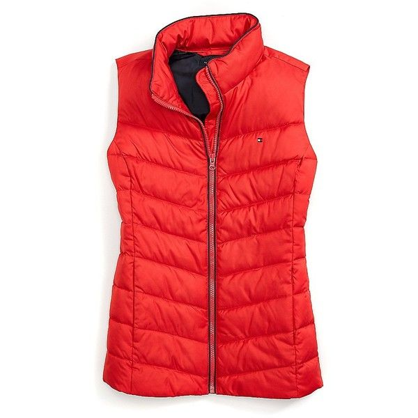 Tommy Hilfiger Puffer Vest (£64) ❤ liked on Polyvore featuring outerwear, vests, red vest, red puff vest, red puffer vest, puffy vest and red puffy vest