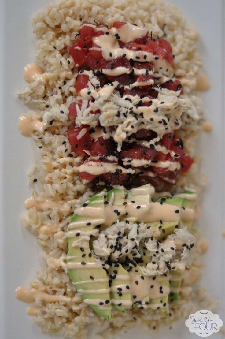 Sushi Salad - has everything including tuna, avocado, sriracha mayo and seaweed (nori) without the hassle of rolling!