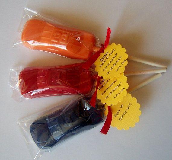 1 DOZEN Chocolate Hot CAR Lollipops  --  Kids Racecar Wheels Birthday favors, guy gifts for him