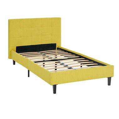 linnea tufted fabric headboard twin platform bed frame in sunny - Twin Bed Frames