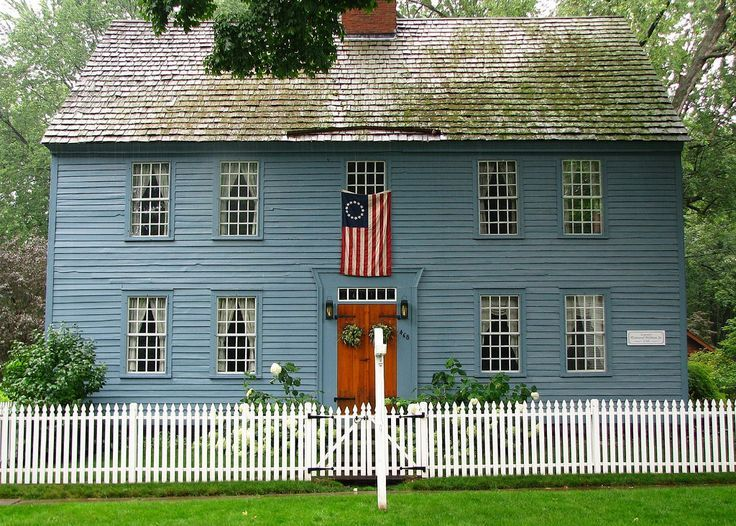 connecticut colonial houses houses   blue painted center chimney Colonial…