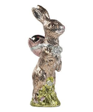 12u0027u0027 Metallic Egg U0026 Bunny Figurine By Ku0026K