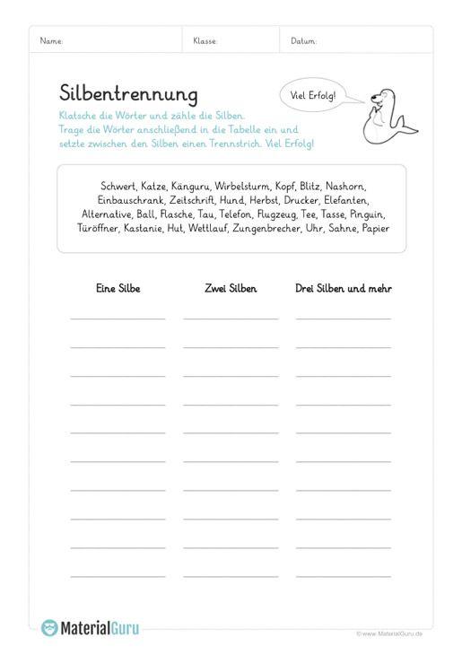 ein kostenloses arbeitsblatt zum thema silbentrennung auf dem die sch ler w rter mit. Black Bedroom Furniture Sets. Home Design Ideas