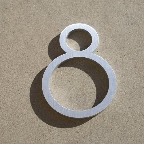 "Contemporary Font House Number Aluminum Number Eight ""8"" 6 Inch 
