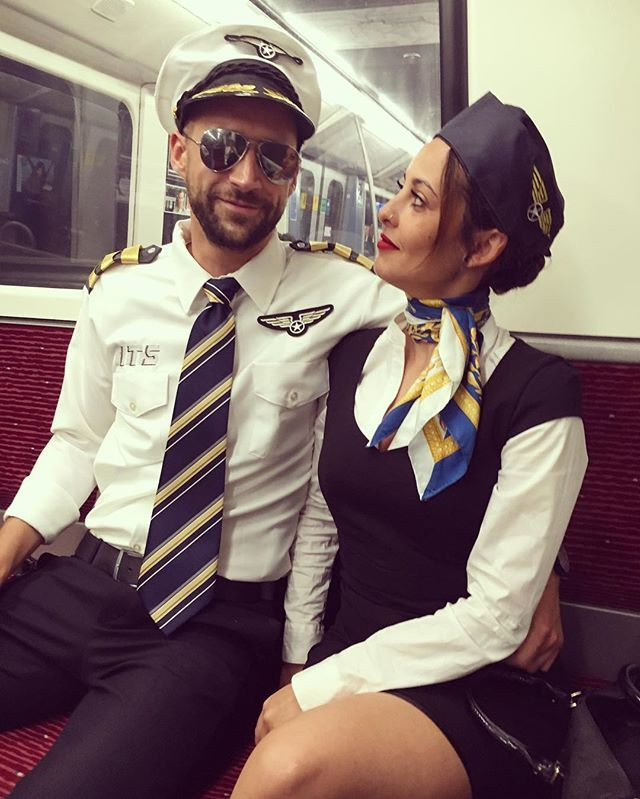 Pin for Later: Throwback: 17 Halloween Costumes For Couples Who Keep It Old School Pilot and Stewardess