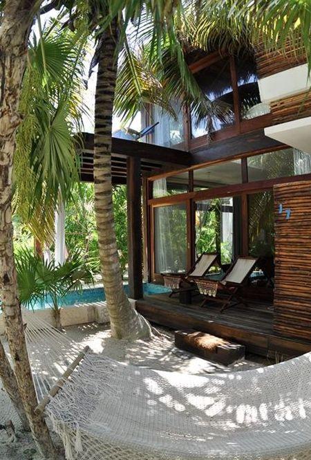 glass and wood beach hut