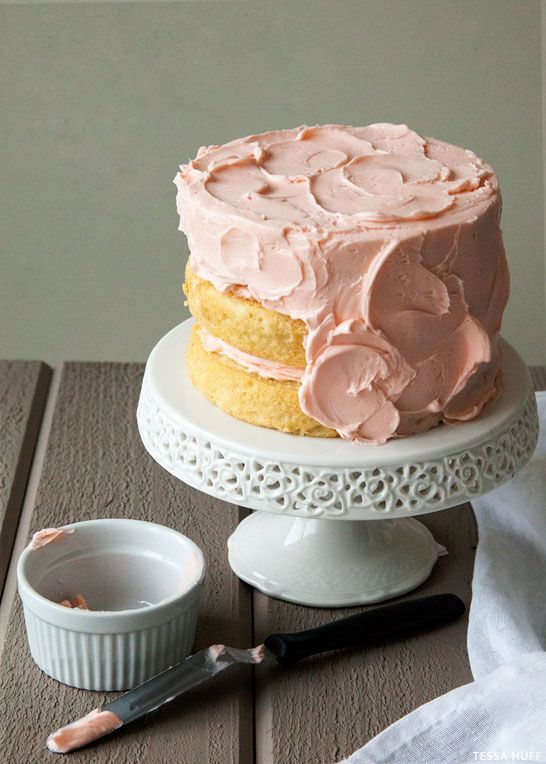 A light yet velvety white chocolate cake with rose-flavored buttercream frosting. A sophisticated flavor combination, perfect for Valentine's Day or any day.