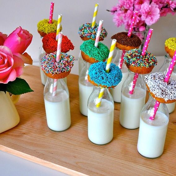 Mini donuts and milk bottles