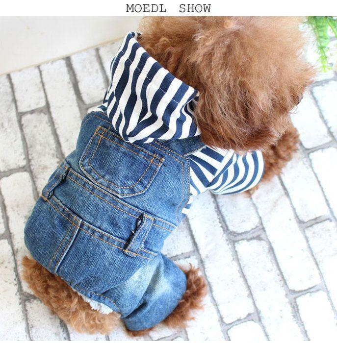 マリンボーダーつなぎデニムロンパース犬服ペット服ドッグ服ワンちゃん服小型犬ペットウェアドッグウェア裏ボアスナップボタン仕様フード付きオールインワンオーバーオールロンパースチワワ服秋冬物
