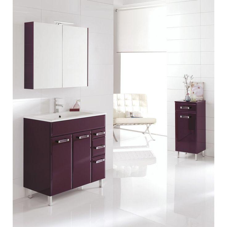 Meuble de salle de bains opale aubergine salle de bains for Leroy merlin meuble salle de bain bois