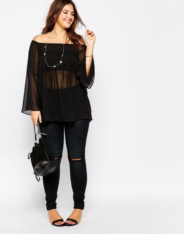 New Look Inspire Long Sleeve Shirred Bardot Top via TheCurvyFashionista.com #TCFStyle