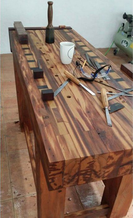 A woodworker's workbench should have ways to fix or lock a workpiece into a position.
