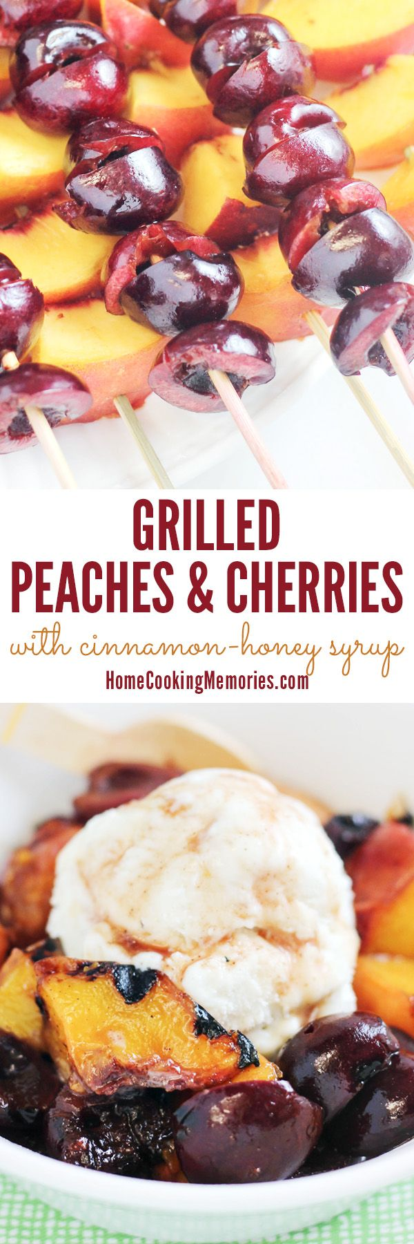 This is a MUST while peaches and cherries are in season: Grilled Peaches & Cherries on a Skewer! Serve this grilled fruit idea right off the grill for an easy summer side dish OR make the easy cinnamon-honey syrup recipe for a delightful ice cream topping!