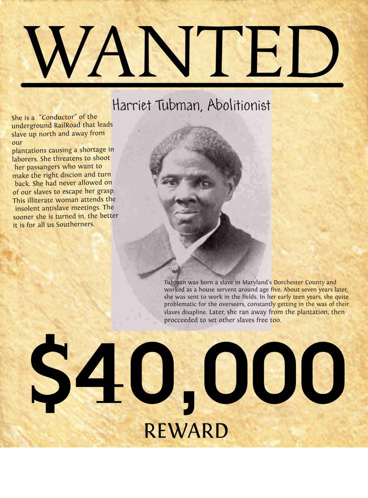 Harriet Tubman Wanted Poster | Harriet Tubman wanted poster | Publish with Glogster!